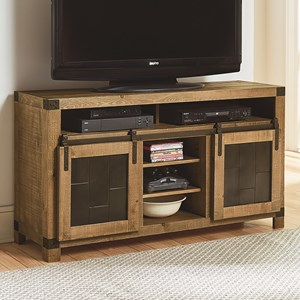 Rustic 54 Inch Console with Metal Sliding Barn Doors