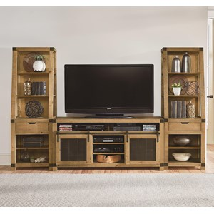 Rustic Wall Unit with Metal Accents