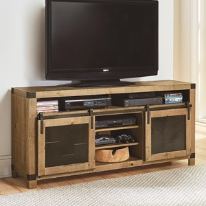 Rustic 64 Inch Console with Metal Sliding Barn Doors