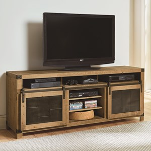 Rustic 74 Inch Console with Metal Sliding Barn Doors