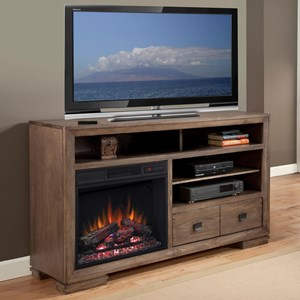 Pine 60 Inch Console with Fireplace