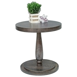 Weathered Finish Farmhouse Style Round Chairside Table with Turned Pedestal Base