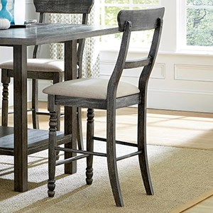 Solid Wood Ladderback Counter Chair with Upholstered Seat