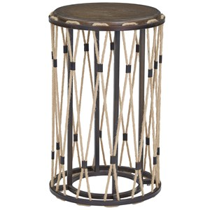 Chairside Table with Rope Accenting
