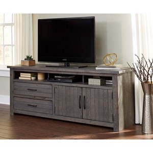 74 Inch Console with Grooved Drawers and Doors