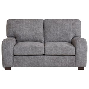 Transitional Loveseat with Sloped Arms
