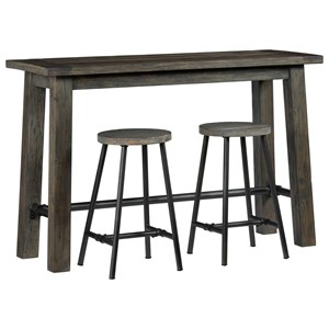 Rustic Counter Height Console with 2 Stools and Metal Stretchers