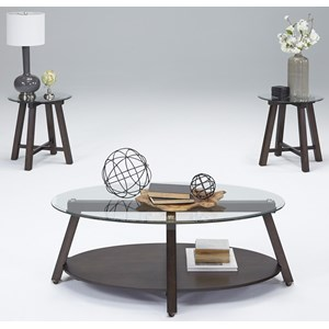 3-Piece Wood/Glass Occasional Table Set