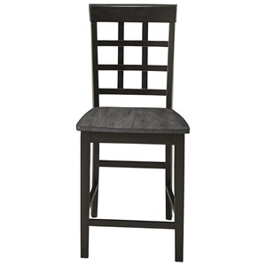 Two-Tone Solid Wood Window Pane Counter Chair