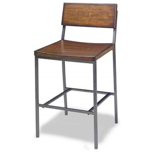 Industrial Counter Stool with Distressed Finish