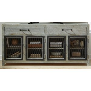 Industrial 72 Inch Console with Metal Wire Doors