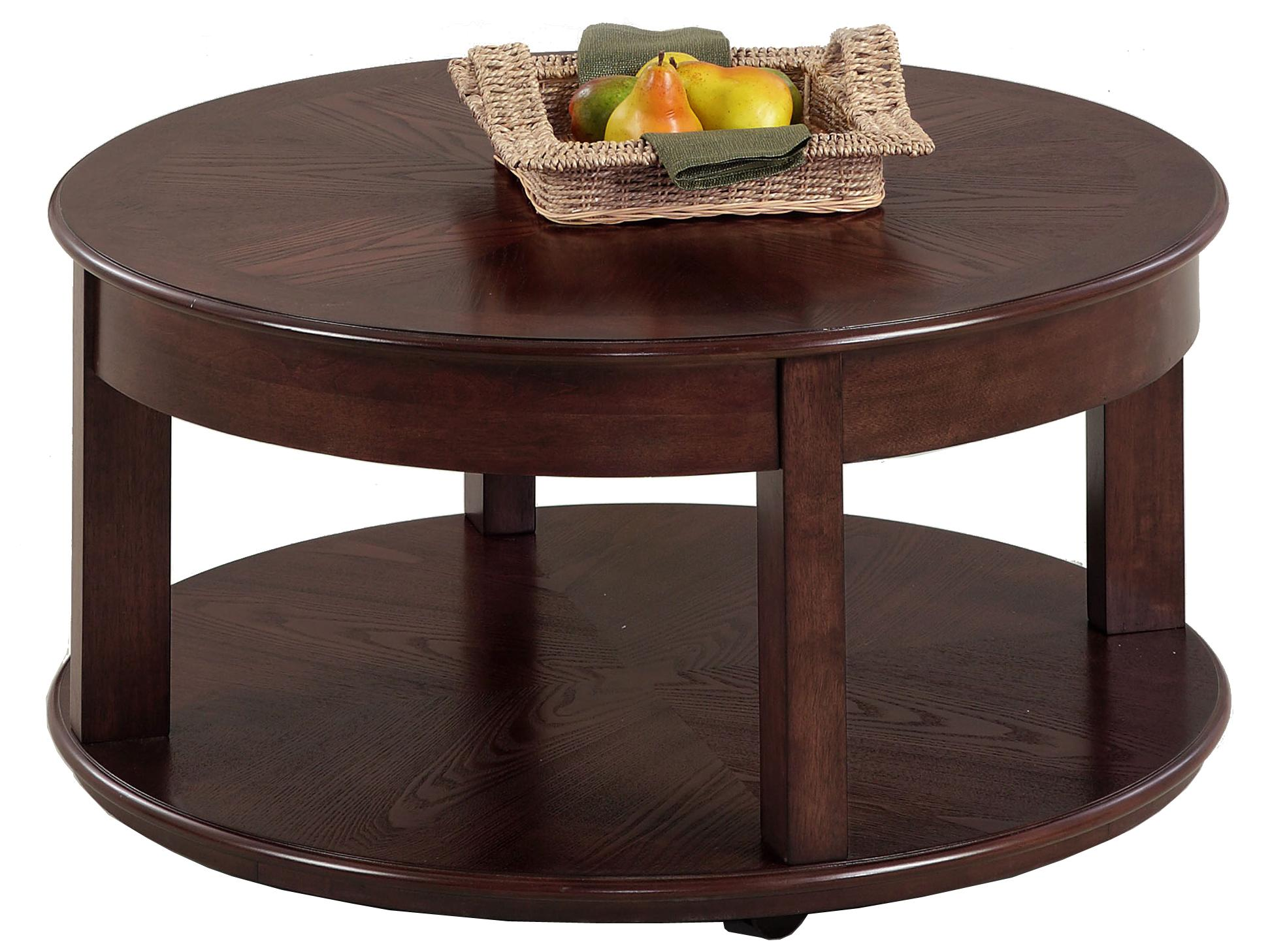 Sebring Castered Round Cocktail Table by Progressive Furniture at Catalog Outlet