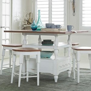 Transitional Counter Table with Pedestal Storage