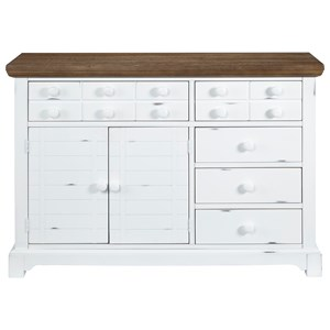 Transitional Server with Distressed Finish