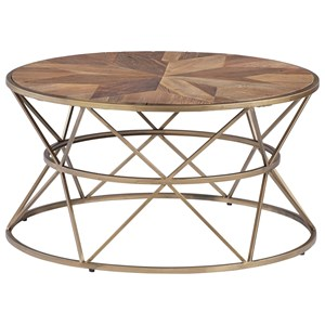 Transitional Round Cocktail Table with Brushed Gold Metal Hourglass Base