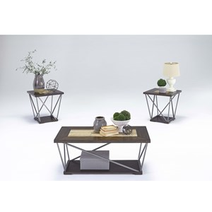 Contemporary Cocktail Table & 2 End Table Set