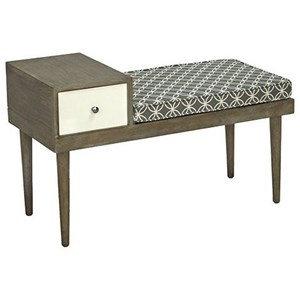 Transitional Accent Bench with Storage Drawer