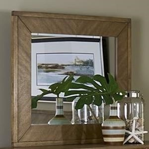 Transitional Dresser Mirror with Wood Frame