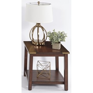 Transitional Square Lamp Table with Metal Accents