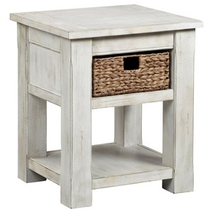 Farmhouse Chairside Table with Seagrass Basket