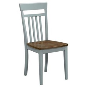 Transitional Dining Side Chair with Wooden Seat