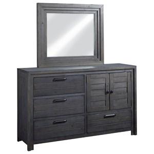 Transitional Door Dresser & Mirror