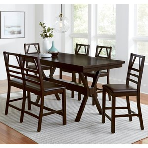 Casual Contemporary 6-Piece Counter Table Set with Bench