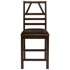 Upholstered Counter Chair with Ladder Back