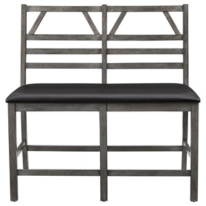 Casual Contemporary Upholstered Counter Bench with Ladderback