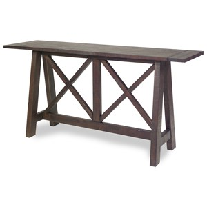 Distressed Solid Pine Trestle Console Table