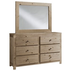 Rustic 6 Drawer Dresser & Mirror Set