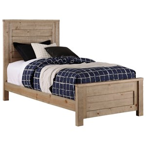 Rustic Twin Wood Panel Bed