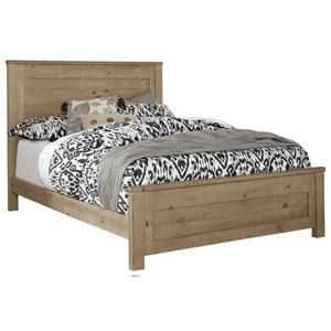 Rustic Full Wood Panel Bed