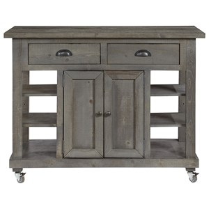 Farmhouse Kitchen Island with Casters
