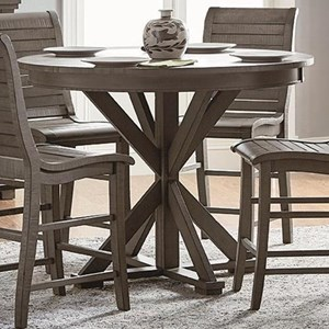 Distressed Finish Round Counter Height Table
