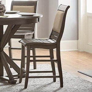 Distressed Finish Counter Upholstered Chair with Salvaged Wood Look