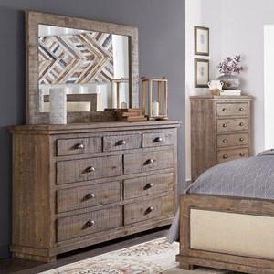 Distressed Pine Drawer Dresser & Mirror