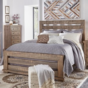 Queen Slat Bed with Distressed Pine Frame