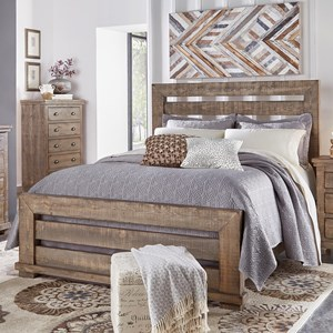 King Slat Bed with Distressed Pine Frame