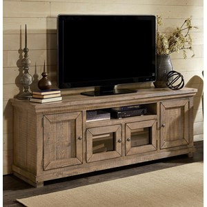 "Large 74"" Distressed Pine Media Console"
