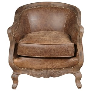 Sloane Chair with Carved Wood Frame