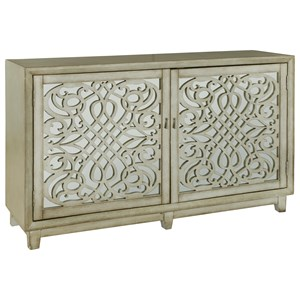 Christiene Credenza with Intricate Wood Grilles