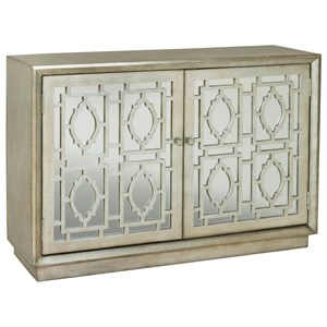 Credenza with Mirrored Doors and Wood Grilles