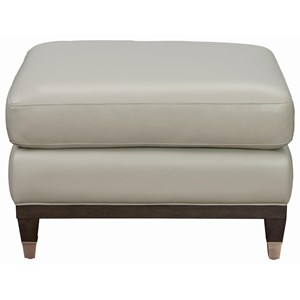 Matching Ottoman in Top-Grain Light Gray Leather