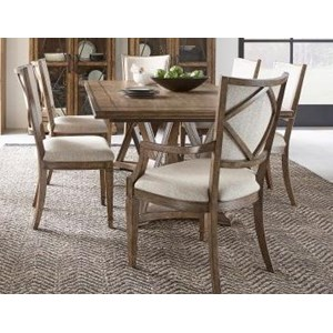 Transitional 7-Piece Dining Set with Upholstered Chairs