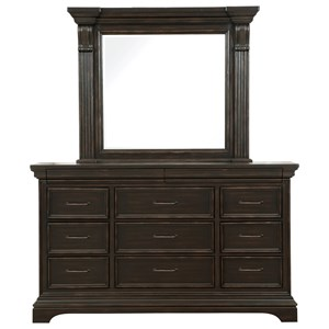 11 Drawer Traditional Dresser and Mirror Combo