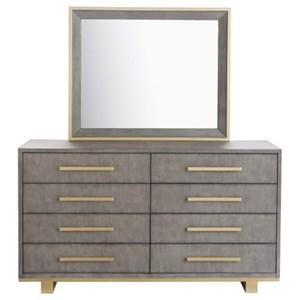 Contemporary Dresser and Mirror Set with Metal Accents