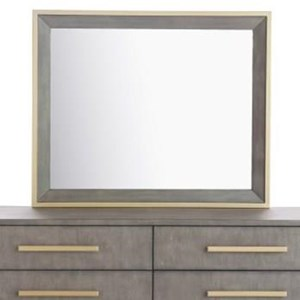 Contemporary Mirror with Gold Finish Metal Trim