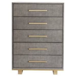 Contemporary Drawer Chest with Metal Accents