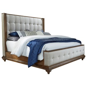 King Traditional Upholstered Bed with Button Tufting